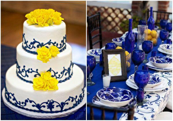 dunkel blau und gelb hochzeit hochzeitstorten tischdekoration mit blau und weiss willow china. Black Bedroom Furniture Sets. Home Design Ideas