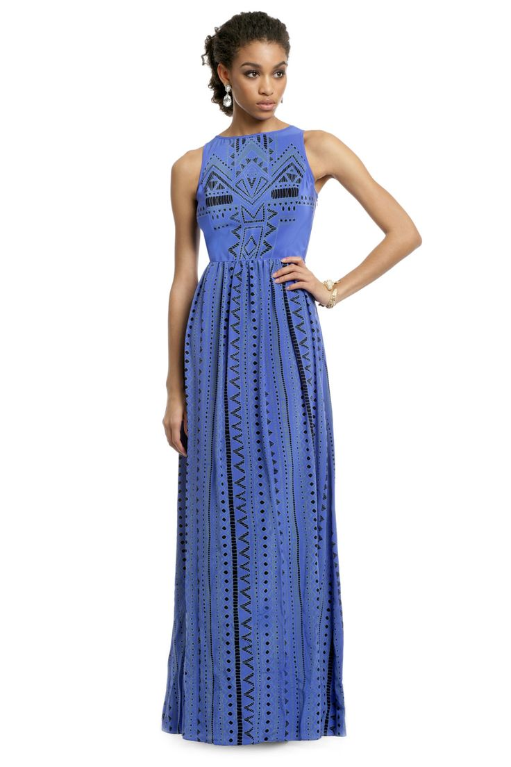 Tibi Into the Blue Tribal Gown from Rent the Runway | What to Wear to a Wedding | Floor-Length Dresses #weddingattire #weddingdresscode #weddingseason