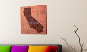 Groupon - David Bowman State Word Map on Stretched Canvas. Groupon deal price: $49.99