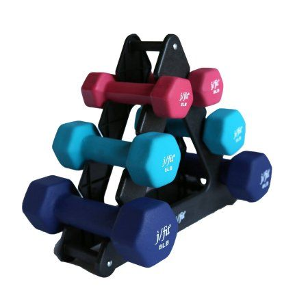 32 lbs. Dumbbell Set with Rack, Multicolor