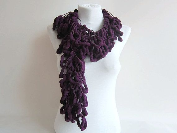 Hand crochet Long Scarf Mulberry Scarf  purple  by scarfnurlu
