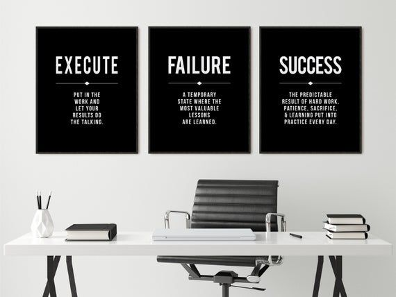 Success Quote Office Wall Art Black Large Poster Positive Etsy Motivational Wall Art Office Decor Work Office Decor