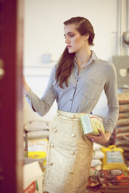what could be better than a gold pencil skirt?