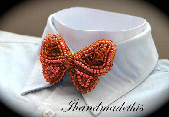 Orange beaded butterfly bow tie beads embroidery by Ihandmadethis