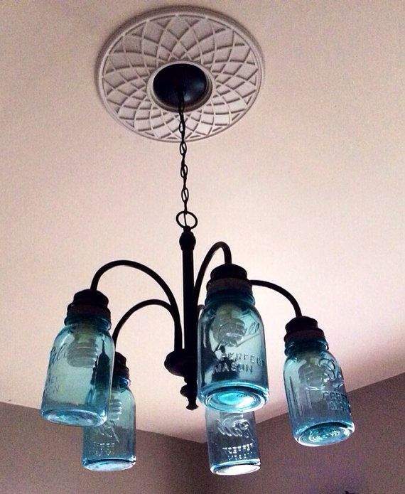 Upcycled Hanging Chandelier Mason Jar Light by JunkyardJems