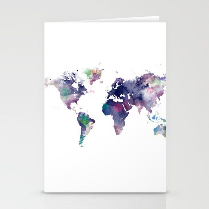 Watercolor World Map Stationery Cards By Monn Set Of 3 Folded