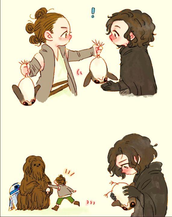 Rey Got Ben A Porg Star Wars Art