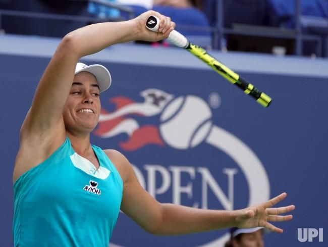 Jennifer Brady of the United States returns a shot by her 4th round match against Kristyna Pliskova of the Czech Republic in their 4th…