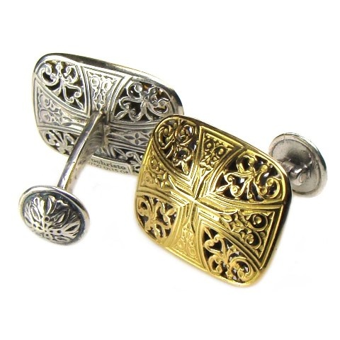 Gerochristo Cuff Links Sterling Silver and Gold 18-karat Made in Greece