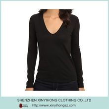 Womens Long sleeve cotton/Spandex blended Deep V neck design tee shirts custom  Best buy follow this link http://shopingayo.space