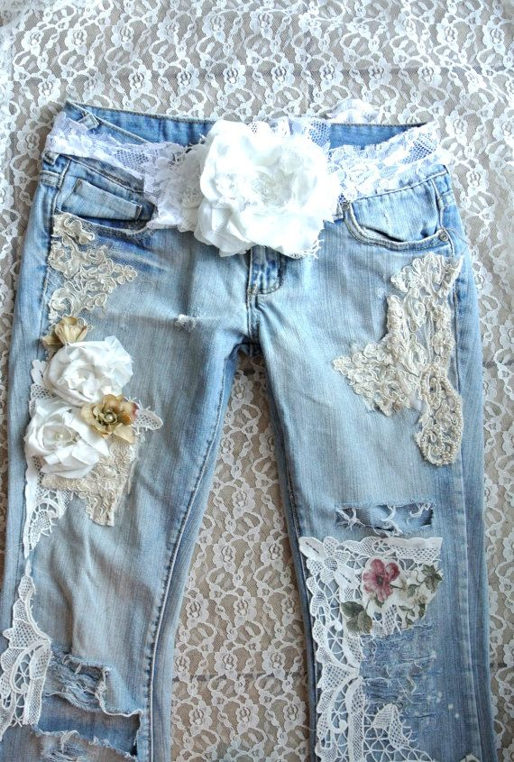 A SALE embellished jeans, Boho lace jeans, romantic clothes, Shabby lace country clothes, altered denim, Distressed jeans, true rebel cloth