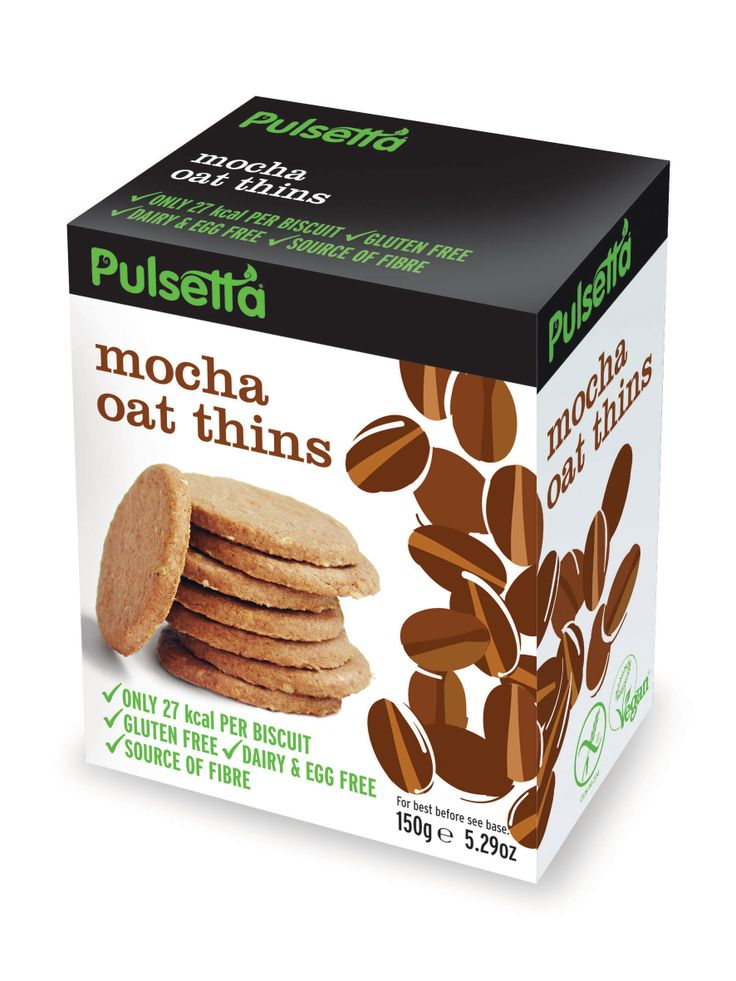 Pulsetta Mocha Oat Thins are mild shots of espresso in a biscuit. Glutenfree and vegan.
