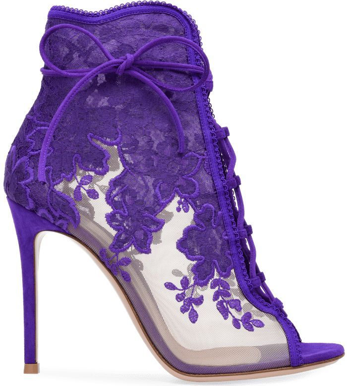Handcrafted In Purple Suede Embroidered Lace With See Through Mesh Boots Shoe Boots Heels