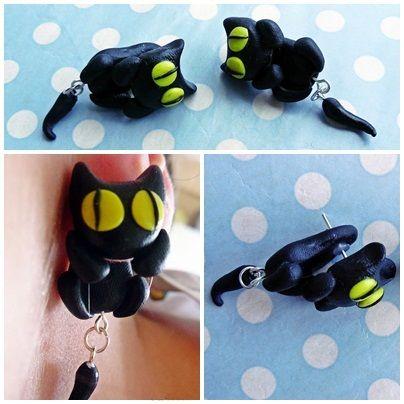 kolczyki z modeliny sztyfty czarne kotki