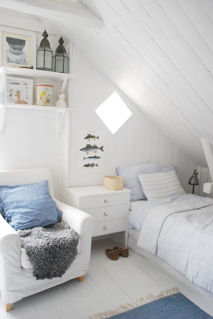Under the eaves.  Great use of small space.
