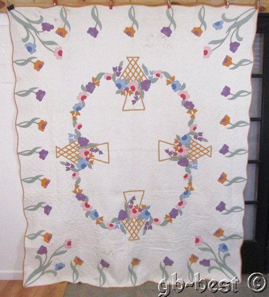 Darling Cottage 1930s Blooming French Basket Applique Antique Quilt 90 x 75 Pink | eBay