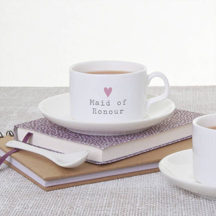 Slice of Pie Designs Maid Of Honour Teacup And Saucer Wedding Gift