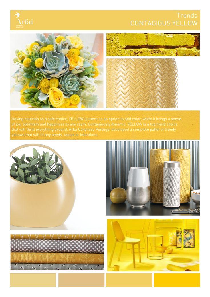 Contagious yellow | Trends by Arfai Ceramics Portugal #yello #trends #color #decor #ceramics #moodboard