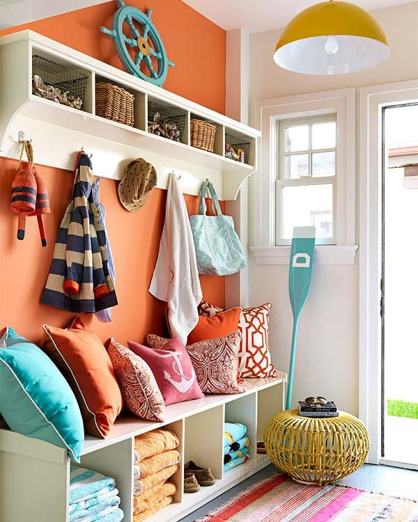 Bright colored Mud Room