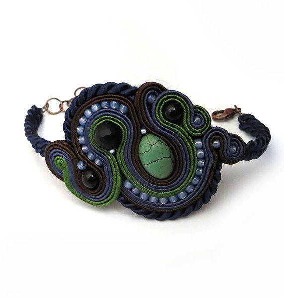 Unique Navy blue brown Soutache Cuff Bracelet Unique by sutaszula