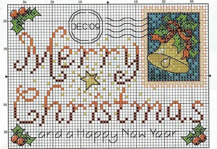 Cross stitch Christmas Post Card