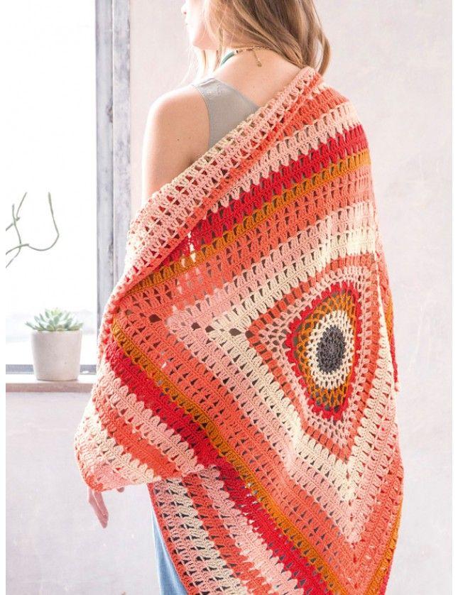 Triangel sjal eller poncho (eller pledd). Garnpakke i Coton 3 fra Phildar.