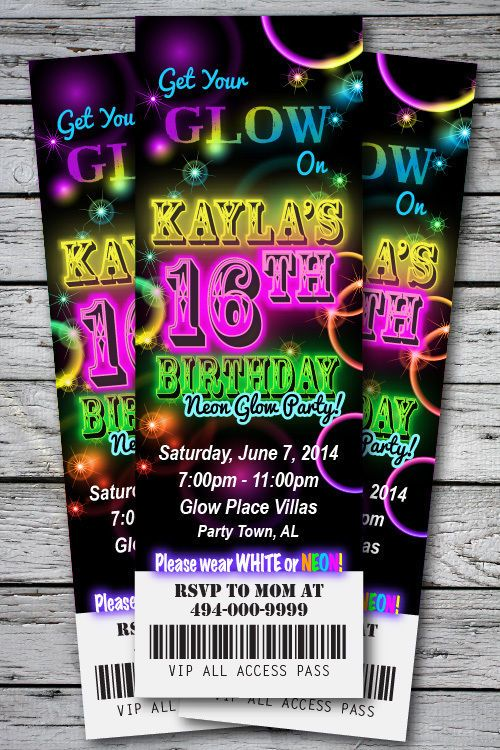 Sweet 16 GLOW in the Dark Theme NEON DISCO Birthday Party Invitation TICKET Stub Any Age