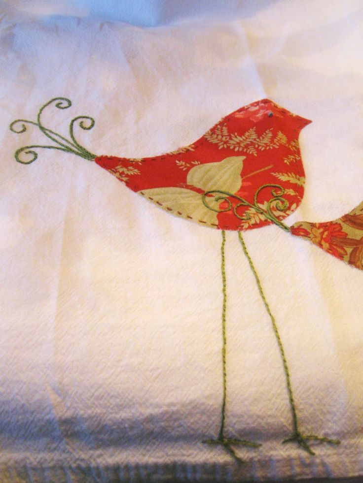 spring dish towel using your fabric scraps ... cute ... clipart online for the bird shapes ... alittlecreafting