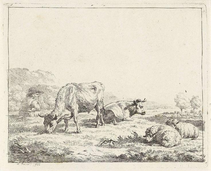 Frédéric Théodore Faber | Zittende herder, Frédéric Théodore Faber, 1806 | In een weide met twee koeien en twee schapen zit een man met een hoed op.