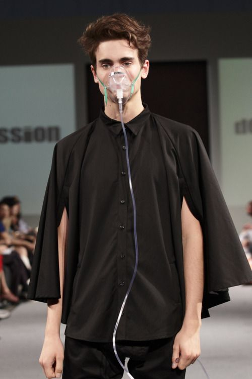 So a few years ago, there was this trend of using the visual language of consumption/tb in runway shows.  Now we're on to anesthesiology.