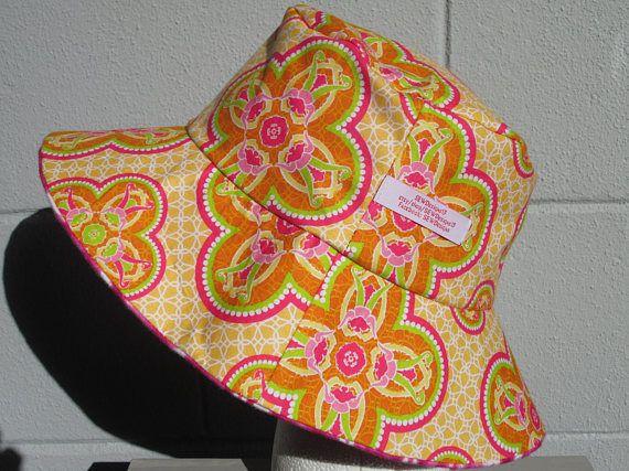 "Emmer Hat 24"" XLarge Floral emmer hoed, Art Nouveau afdrukken, tie dye roze"