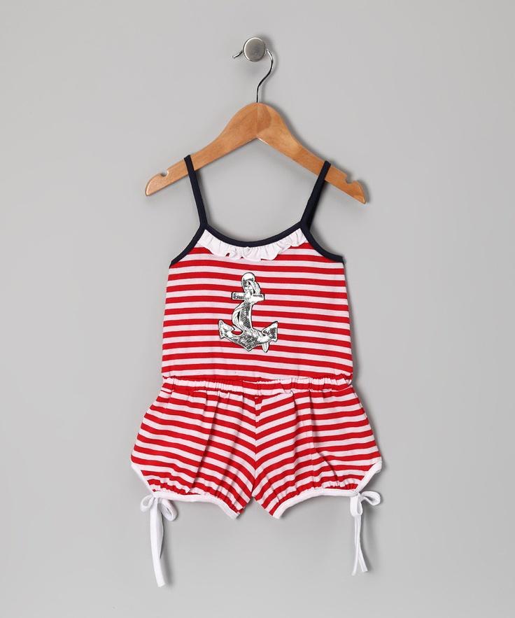 Red Stripe Anchor Romper - Toddler & Girls