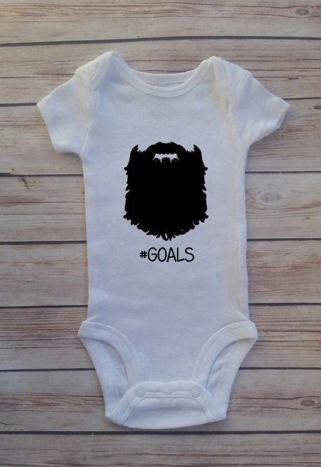Beard Hastag Goals Baby Newborn Onesie Bodysuit by ModernChicKids