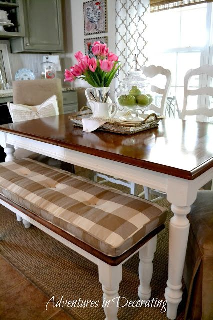 Gorgeous French Country dining room table and bench seat interior design ideas and home decor from Adventures in Decorating: It's the Little Things ...