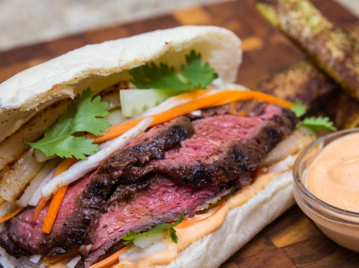 Grilled Skirt Steak Banh Mi recipe by FlavCity.