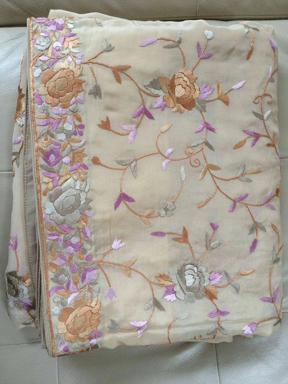 Cream-all-over-parsi-gara-hand Embroidered