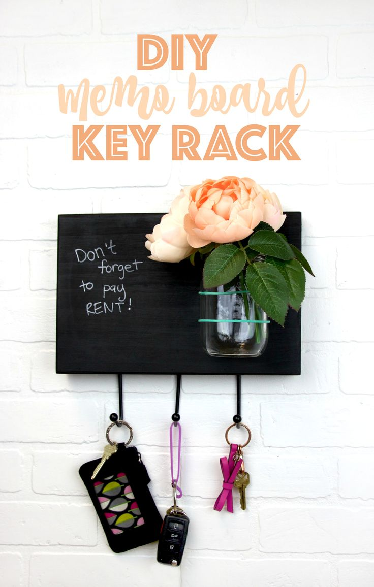 This DIY Memo Board Key Rack is the perfect solution to keep your keys, stay reminded, and be happy! It's a great craft project for spring and looks great as DIY dorm decor!