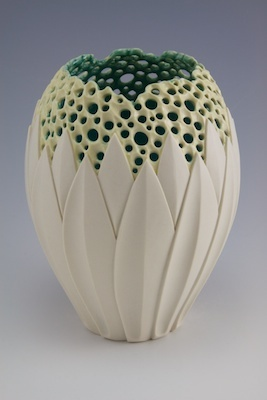 Simon van der Ven - combines different aspects and pieces of varying shapes and textures to make a typically shaped vessel