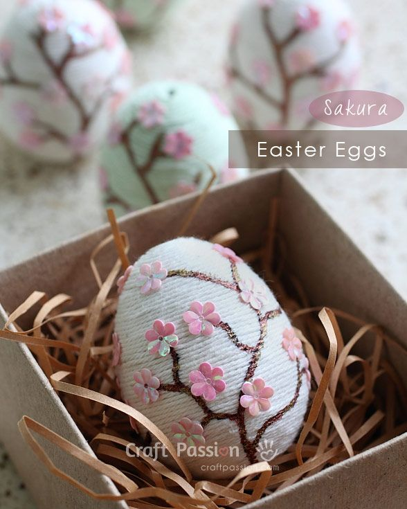 Celebrate this Easter with Japanese theme decorations. Make Sakura Easter Eggs with yarn and flower sequins.