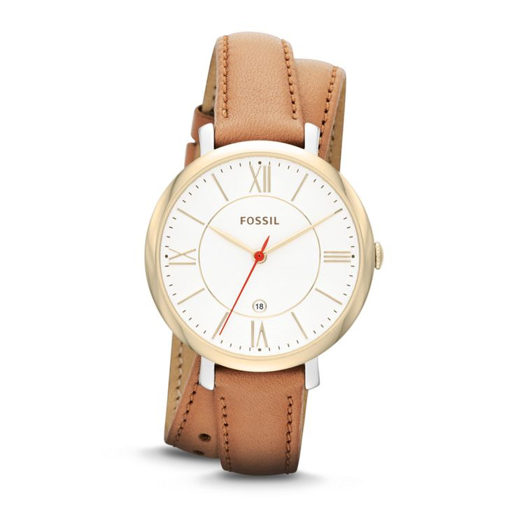 I want! So beautiful! Love the double wrap leather -Fossil Jacqueline Three-Hand Date Leather Watch - Tan