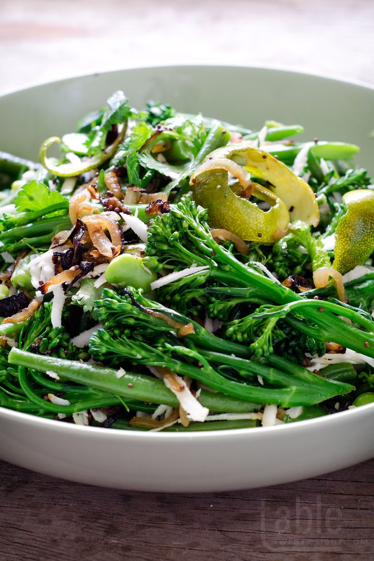 broccolini & green bean salad with curry leaves & fresh coconut | table twenty eight