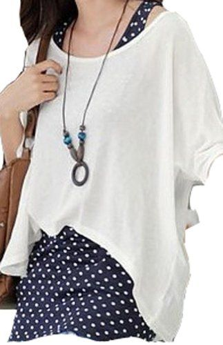 Women's Twinset 2PCS Loose Batwing T Shirt + Polka Dots Tank Top Dress Fengbay,http://www.amazon.com/dp/B00HSC4ZZ4/ref=cm_sw_r_pi_dp_xFEktb06JT05GT79