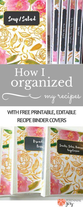 Kitchen organization tip: I finally organized my recipes into binders, and it's so much easier to find them now! DIY recipe organization is made easy with these free printable and editable recipe binder covers! Perennial Joy.com