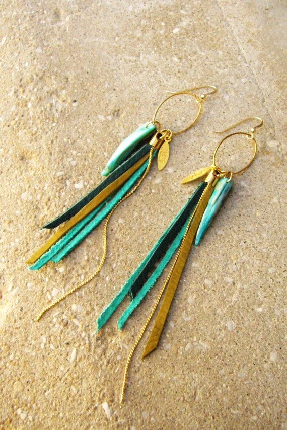 Leather Fringes Long Earrings- Bird of Paradise- Turquoise summer jewelry