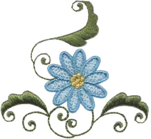 Daisy, Fanciful machine embroidery design.