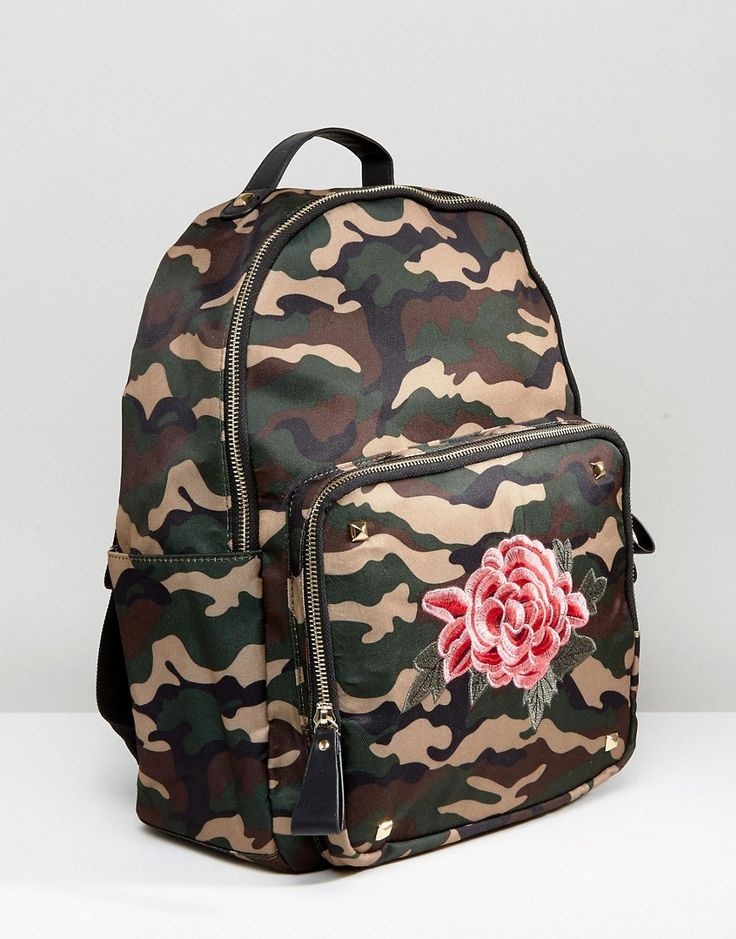 Yoki Camo Backpack With Floral Embroidery - Green