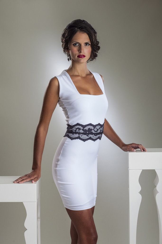 Perlae Couture's White Cocktail Dress with Black Lace Belt.  This stunning white cocktail dress will make you feel as amazing as you look with an ultra-comfortable lining and soft, stretch fabrics.  Shop www.perlaecouture.com for this fabulous little cocktail dress! #Cocktail Dress #White Dress