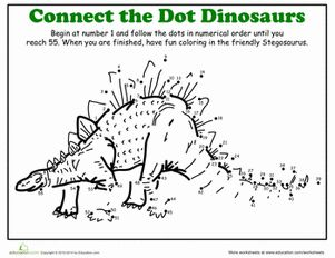 Kindergarten Dinosaurs Dot To Dots Worksheets Dinosaur