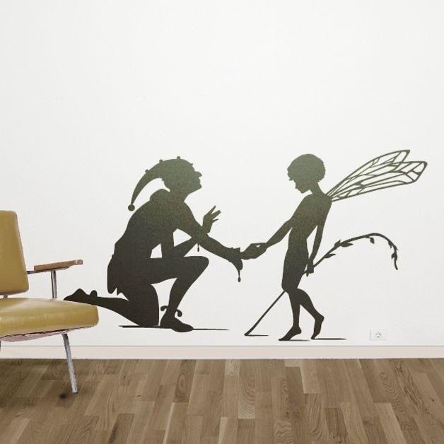 Wandtattoo - Wandtattoo Harlekin und Elf - ein Designerstück von Wandtattoo-yd bei DaWanda