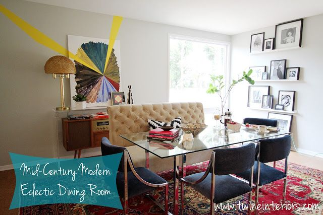 mid-century modern home, eclectic modern dining room, abstract art, banquette dining, glass dining table